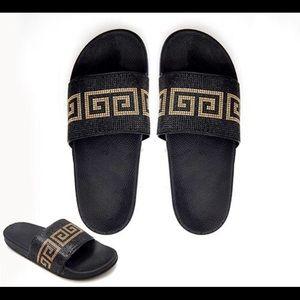 Shoes - Black Greek Design Slippers